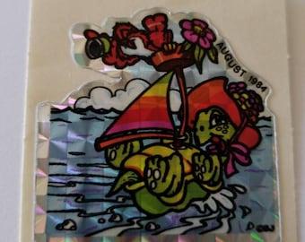Vtg BJ Decal Specialties Club Sticker August 1984 Turtle sailing HTF vintage