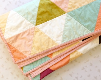 Quilt - MADE TO ORDER - Girl Baby/Toddler Quilt - Choose your pattern - Minty Peach Quilt, Floral Block Quilt, Floral Triangles, Purple Flo