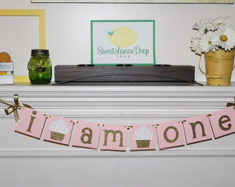 pink gold birthday I AM ONE cupcake decorations decor highchair banner smash cake first 1st