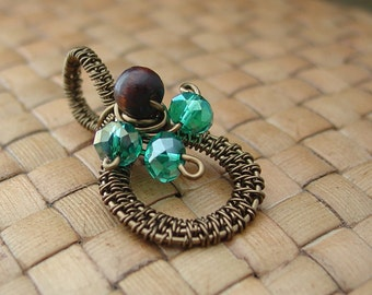 Antiqued Brass Wire Wrapped Wood and Aqua Crystal Bead Pendant, Wire Woven, Round Pendant