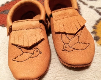 The Charlie Moccasin - kids leather moccasin - baby moccasins - toddler moccasins - upcycled - ecofriendly - kids shoes - handmade shoes