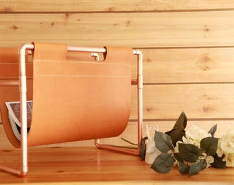 Leather and Copper Magazine Rack