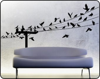 BIRDS ON A WIRE wall decal, powerline wall decal, power line, flying birds wall decal, Birds in Flight, flock of birds decal, bird wall art