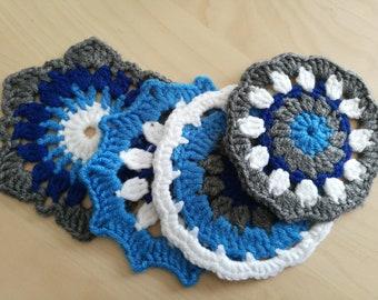 Crochet Doily Coasters Blue White Grey Set of 4