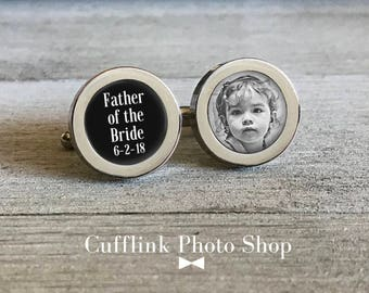 Father Of The Bride Cufflinks, Personalized Cufflinks, Custom Cufflinks, Photo Cufflinks, Gift From Bride, Gift For Dad, Wedding Cufflinks