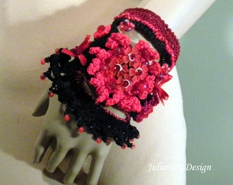 50% Sale - ENCHANTING SIGNATURE CUFF - Fiber Art Jewelry, Exquisitely Beaded, Hand Embroidered, Freeform Crocheted