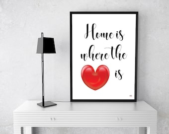 Housewarming Gift, Home Is Where The Heart Is, New Home Gift, Wall Art, Digital Print, Typography Art, Gift For Her