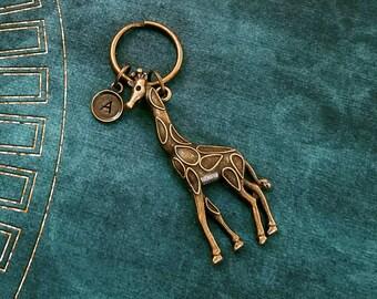 Giraffe Keychain Giraffe Keyring Safari Animal Keychain Bronze Keychain Brass Keychain Charm Keychain Personalized Keychain Initial Keychain