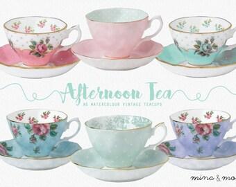 Teacup clipart - Watercolor clipart - Tea clipart - Teacup floral clipart - Vintage tea cups - Rose tea cup - Tea party clipart - Tea cups