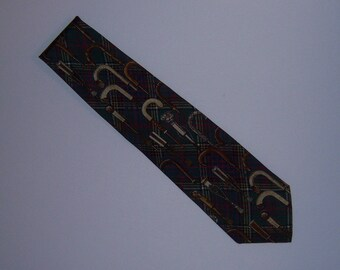 Vintage Polo Ralph Lauren Dark Olive Green Brown Red Walking Canes Cane Motif Print Silk Neck Tie Necktie