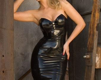Strapless Latex Ruffle Dress