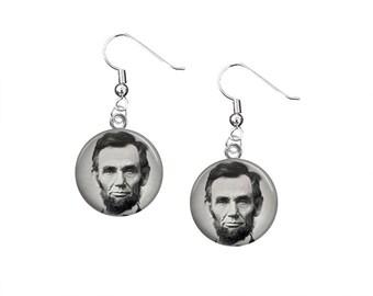 Abraham Lincoln, 12mm Dangle Earrings, American Presidents, American History, Patriotic jewelry, USA, Civil War, Lincoln Earrings