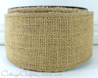 "Wired Ribbon, 2 1/2"" Metallic Burlap Natural Tan, Silver - Ten Yard Roll - Offray ""Mica"" Glitter Burlap Wire Edged Ribbon"