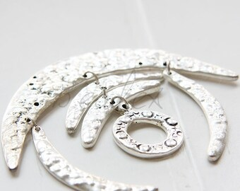 One Piece / Crescent / Moon / Texture / Oxidized Silver Tone / Base Metal (Y6598//I134)