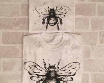 Big and Little Matching Bee Tee Set White - Screen Printed