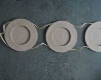 Set of 3 round cardboard frames connected with string