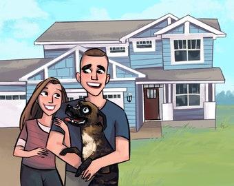 Housewarming gift Home illustration family portrait new house