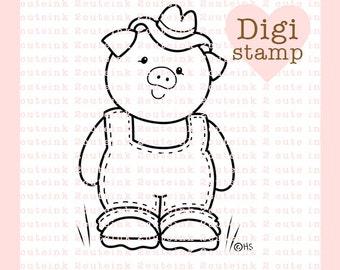 Country Pig Digital Stamp - Pig Digital Stamp - Digital Pig Stamp - Pig Art - Pig Card Supply - Pig Craft Supply