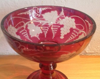 Antique Bohemian Engraved Ruby Flash Pedestal Bowl / Grapes & Wine Leaves