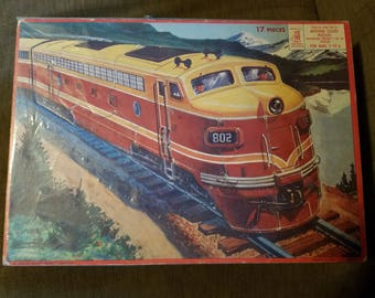 Vintage 1958 Milton Bradley Train Locomotive Puzzle