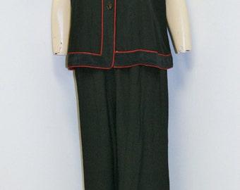 Vintage 1930's 40's Black Rayon Oriental Lingerie Pajama Set by Miss Swank Size M