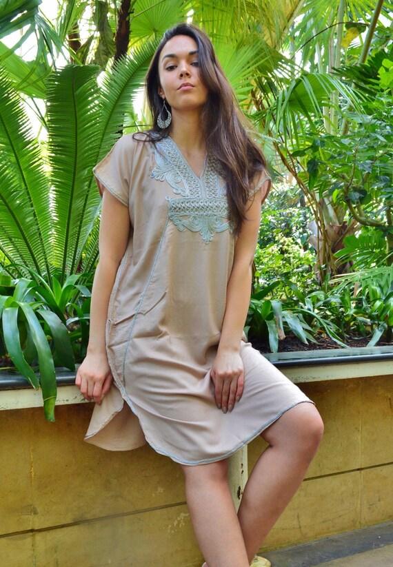 New Beige Silver Marrakech Resort SHORT Tunic Caftan Kaftan - Summer dress, spring dress,beach cover ups, resortwear,loungewear, birthdays