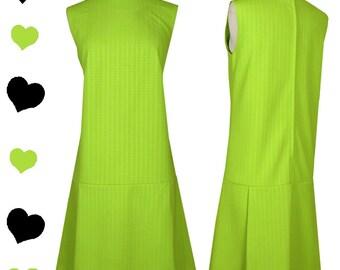 Vintage 60s Dress / 60s Mod Dress / Mod GoGo Dress / Green Mod Dress / S M Small Medium Shift Lime Sleeveless A-line Scooter Drop Waist