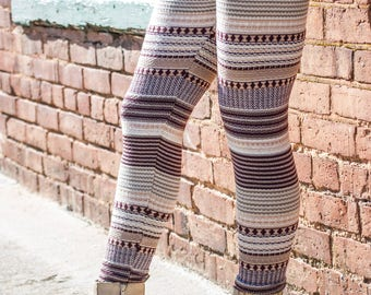 Knit Striped Leggings
