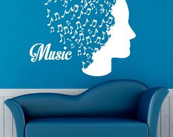 Music Wall Decal Vinyl Stickers Music Notes Home Interior Art Design Murals Bedroom Wall Decor (21m01c)