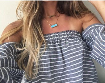 Blue Gold Bar Choker Necklace, Gift for her