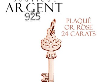 Silver Key pendant 925 silver plated rose gold 21.3 mm - sterling silver charm.