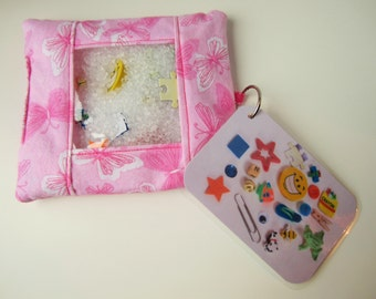 Butterfly busy bag, quiet activity, travel toy