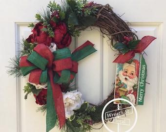 Christmas Wreath, Holiday Wreath, Front Door Wreath, Grapevine Wreath, Wreath Street Floral, Peony Wreath, Red Green Wreath, Santa Wreath