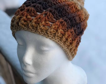 Coffee with Cream Swirl Hat with Pom