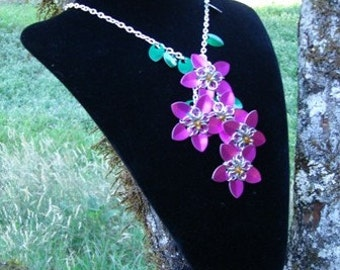 Chainmaille Scale Flower Waterfall Lariat Necklace in Pink by Crafty Cat