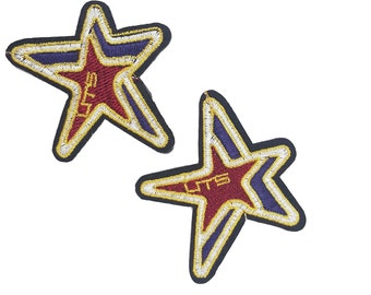 Iron On Embroidered STARS Patch Appliques, Hot Fix Stars Decals 2 PCS