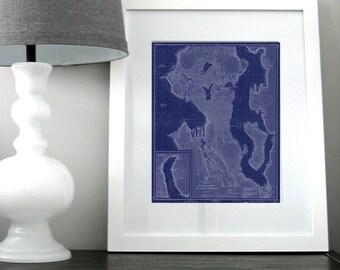 Seattle and Lake Washington Nautical Chart Map 1948 Blue DIGITAL PRINT for Download 16 x 20, Map Art Prints, Printable Art, Chart Maps