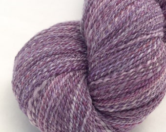 Hand Dyed Handspun Yarn, BFL/Tussah Silk in Plum, 2 Ply Sportweight, 377y