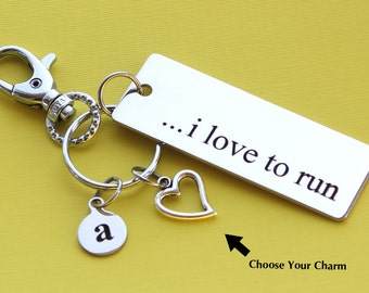 Personalized Running Key Chain I Love To Run Stainless Steel Customized with Your Charm & Initial -K218
