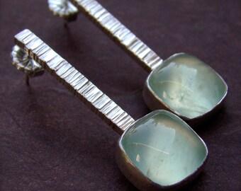 Zen Stick Prehenite Sterling Silver Earrings