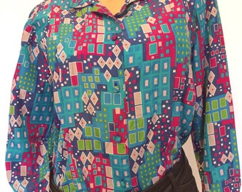 1990s 90s geometric multicolored long sleeved button up blouse Jaclyn Smith