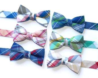 Boys Newport Plaid Bow Ties~Boys Bow Tie~Boys Plaid Bow Ties~Cotton Bow Tie~Navy Bow Tie~Church Tie~Plaid Bow Tie~Wedding~Ring Bearer~Gift