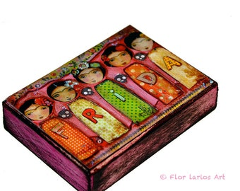 Frida Fiesta  - Halloween - Day of the Dead -ACEO Giclee print mounted on Wood (2.5 x 3.5 inches) Folk Art  by FLOR LARIOS