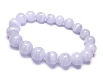 10mm Blue Lace Agate Bracelet, Blue Chalcedony Bracelet, Blue Agate Bracelet,Blue Banded Agate Bracelet, Blue Lace Agate Bead Bracelet Women