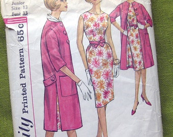 Vintage 1960s Sewing Pattern Simplicity 3884 Fitted Dress and Coat Vintage Sewing Pattern / Junior Size 13