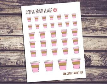 Pink Coffee Take-out Cup Hand-drawn Planner Stickers