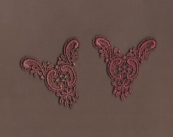 Hand Dyed Venise Lace  Appliques Edwardian Accents Set of 2 Vintage Rose's n Rust