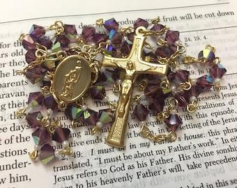February birthstone Preciosa crystal rosary