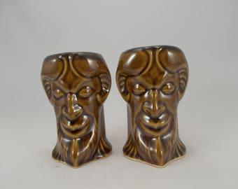 Shot Glasses, a Pair, Featuring a Ram Horned Gargoyle, Amber Glaze, Original Fantasy Art Pottery, Liqueur Cups, Bar Drinkware