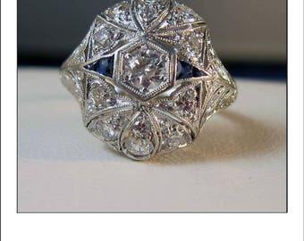 Antique Art Deco Platinum Granat 1.05 Ct. Diamond Sapphire Filigree Ring